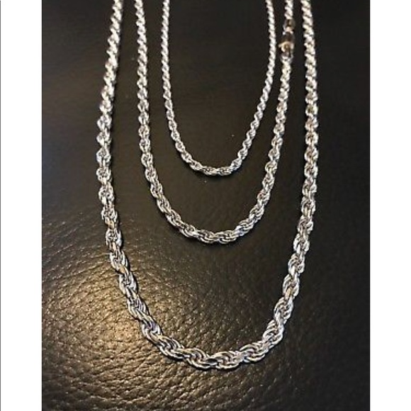 264ee870d6316 Men's Solid 925 Sterling Silver Rope Chain Boutique
